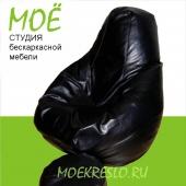 """Кресло-груша """"Блэк джек"""", ткань - экокожа, размеры 90х120 см, объем - 270 литров, вес 4 кг."""