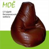"""Кресло-груша  """"Браун"""" Голиаф"""", ткань - экокожа, размеры 100x140 см, объем - 450 литров, вес 7 кг."""