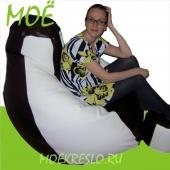 """Кресло-груша  """"Black&White"""" Голиаф"""", ткань - экокожа, размеры 110x150 см, объем - 450 литров, вес 7 кг."""
