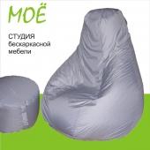 """Кресло-груша """"Серебро"""", ткань - курточная, размер 90х120см. объем - 270 литров, вес 3,5 кг."""